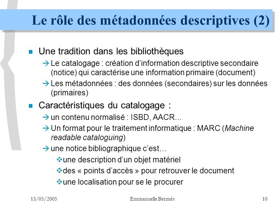 13/05/2005Emmanuelle Bermès10 Le rôle des métadonnées descriptives (2) n Une tradition dans les bibliothèques  Le catalogage : création d'information