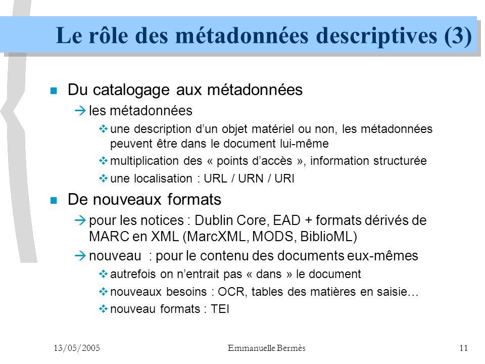 13/05/2005Emmanuelle Bermès11 Le rôle des métadonnées descriptives (3) n Du catalogage aux métadonnées  les métadonnées  une description d'un objet