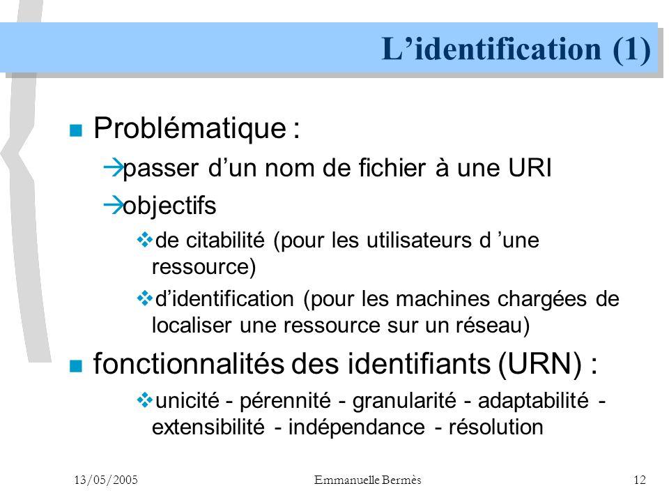 13/05/2005Emmanuelle Bermès12 L'identification (1) n Problématique :  passer d'un nom de fichier à une URI  objectifs  de citabilité (pour les util