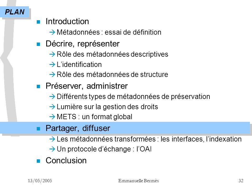 13/05/2005Emmanuelle Bermès32 n Introduction  Métadonnées : essai de définition n Décrire, représenter  Rôle des métadonnées descriptives  L'identi