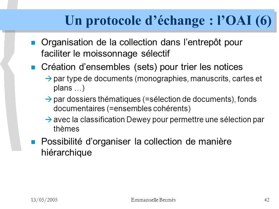 13/05/2005Emmanuelle Bermès42 Un protocole d'échange : l'OAI (6) n Organisation de la collection dans l'entrepôt pour faciliter le moissonnage sélecti
