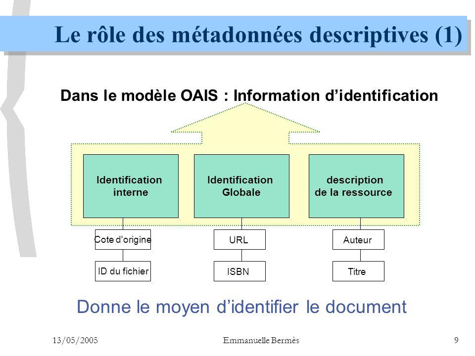 13/05/2005Emmanuelle Bermès30 METS : un format global (7) n Le système de pointeurs :  Mdref + xlink : permet de pointer vers un bloc de métadonnées stocké autre part  DMDID, AMDID : on utilise des identifiants, appliqués à chaque bloc de métadonnées, pour relier les blocs entre eux  fptr : file pointer, permet de pointer vers l'identifiant d'un fichier tel qu'on l'a donné dans la fileSec  mptr : pointeur externe vers un autre fichier METS, permet d'articuler plusieurs documents METS entre eux  area : élément de la carte de structure qui permet de pointer non vers un fichier, mais vers une partie d'un fichier