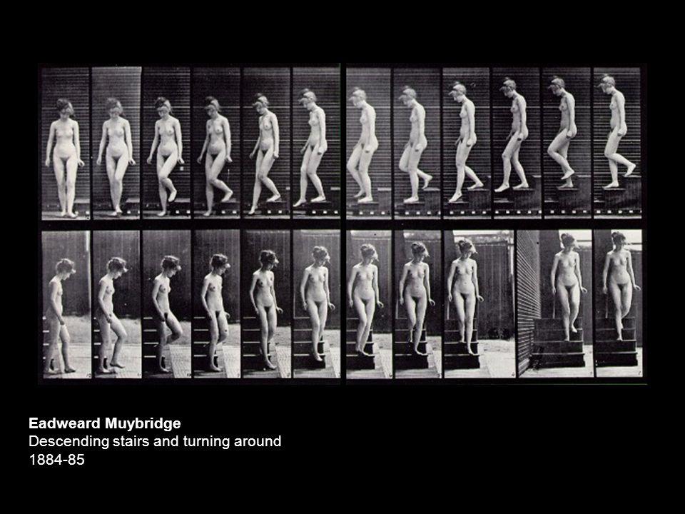 Eadweard Muybridge Descending stairs and turning around 1884-85