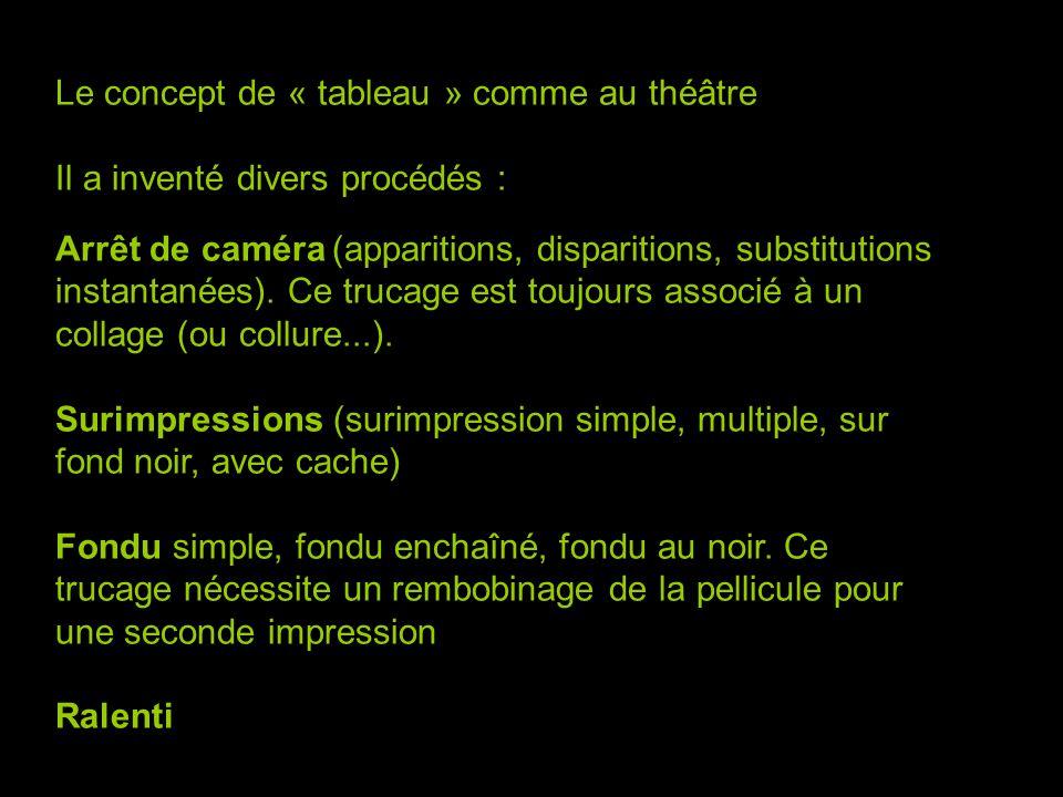 Le concept de « tableau » comme au théâtre Il a inventé divers procédés : Arrêt de caméra (apparitions, disparitions, substitutions instantanées).