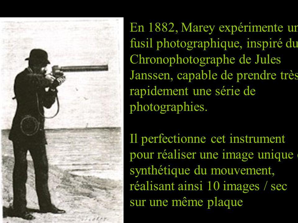 En 1882, Marey expérimente un fusil photographique, inspiré du Chronophotographe de Jules Janssen, capable de prendre très rapidement une série de pho