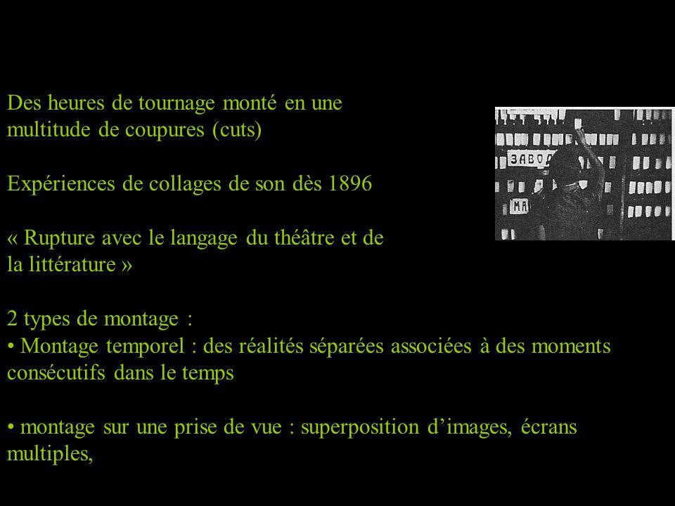 Des heures de tournage monté en une multitude de coupures (cuts) Expériences de collages de son dès 1896 « Rupture avec le langage du théâtre et de la