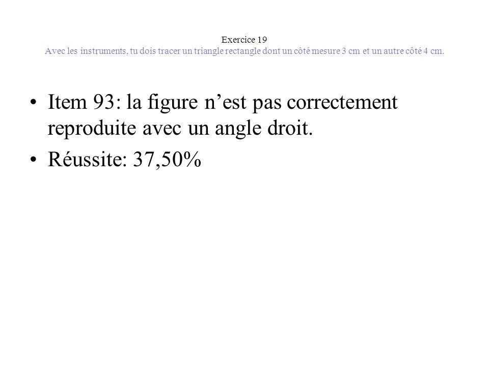 Exercice 19 Avec les instruments, tu dois tracer un triangle rectangle dont un côté mesure 3 cm et un autre côté 4 cm. •Item 93: la figure n'est pas c
