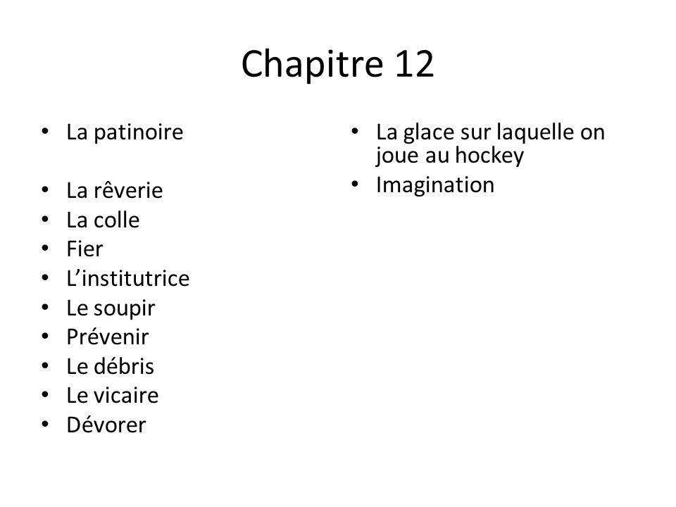 Chapitre 12 • La patinoire • La rêverie • La colle • Fier • L'institutrice • Le soupir • Prévenir • Le débris • Le vicaire • Dévorer • La glace sur la