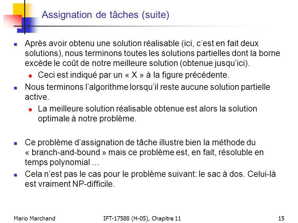 Mario MarchandIFT-17588 (H-05), Chapitre 1115 Assignation de tâches (suite)  Après avoir obtenu une solution réalisable (ici, c'est en fait deux solu