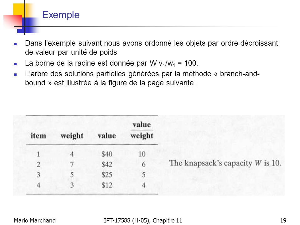 Mario MarchandIFT-17588 (H-05), Chapitre 1119 Exemple  Dans l'exemple suivant nous avons ordonné les objets par ordre décroissant de valeur par unité de poids  La borne de la racine est donnée par W v 1 /w 1 = 100.