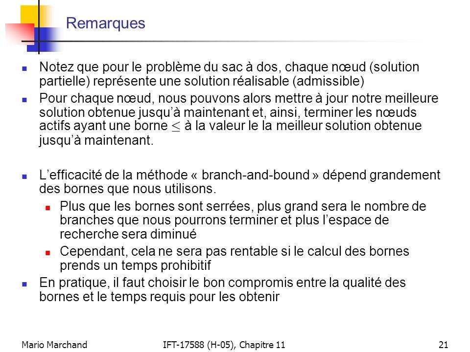 Mario MarchandIFT-17588 (H-05), Chapitre 1121 Remarques  Notez que pour le problème du sac à dos, chaque nœud (solution partielle) représente une sol