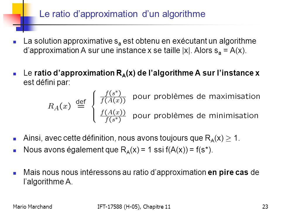Mario MarchandIFT-17588 (H-05), Chapitre 1123 Le ratio d'approximation d'un algorithme  La solution approximative s a est obtenu en exécutant un algo