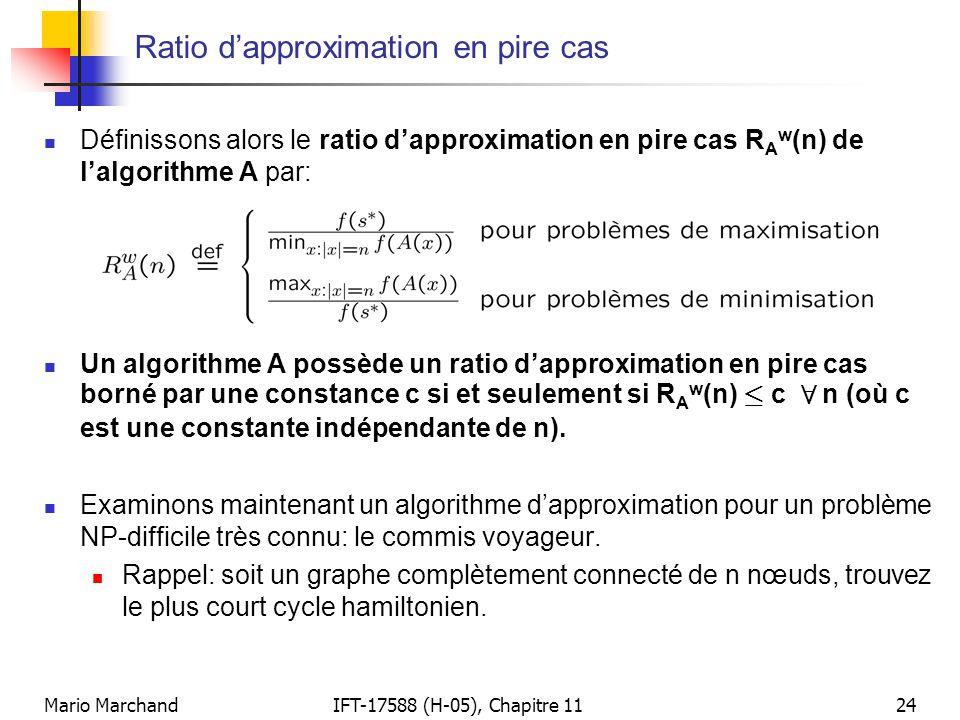 Mario MarchandIFT-17588 (H-05), Chapitre 1124 Ratio d'approximation en pire cas  Définissons alors le ratio d'approximation en pire cas R A w (n) de