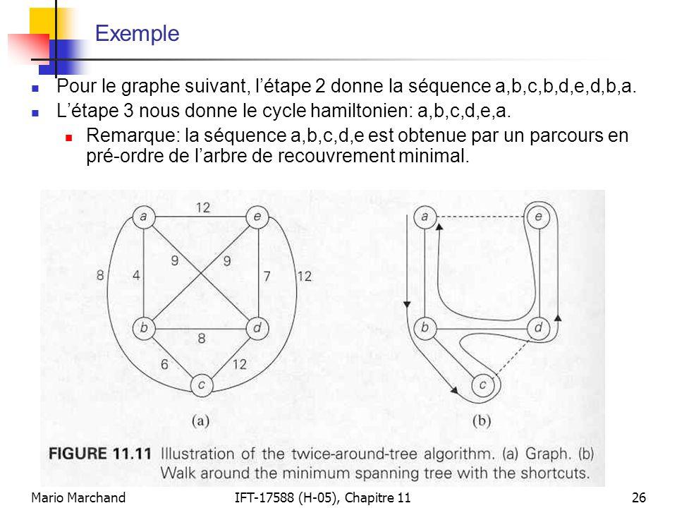 Mario MarchandIFT-17588 (H-05), Chapitre 1126 Exemple  Pour le graphe suivant, l'étape 2 donne la séquence a,b,c,b,d,e,d,b,a.  L'étape 3 nous donne