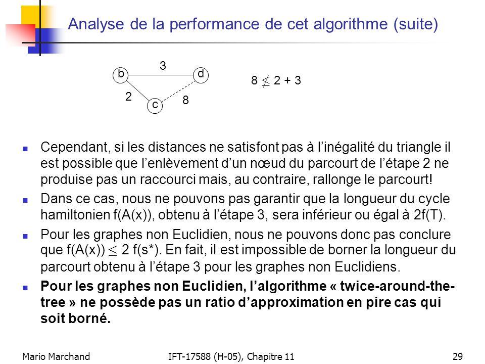 Mario MarchandIFT-17588 (H-05), Chapitre 1129 Analyse de la performance de cet algorithme (suite)  Cependant, si les distances ne satisfont pas à l'inégalité du triangle il est possible que l'enlèvement d'un nœud du parcourt de l'étape 2 ne produise pas un raccourci mais, au contraire, rallonge le parcourt.