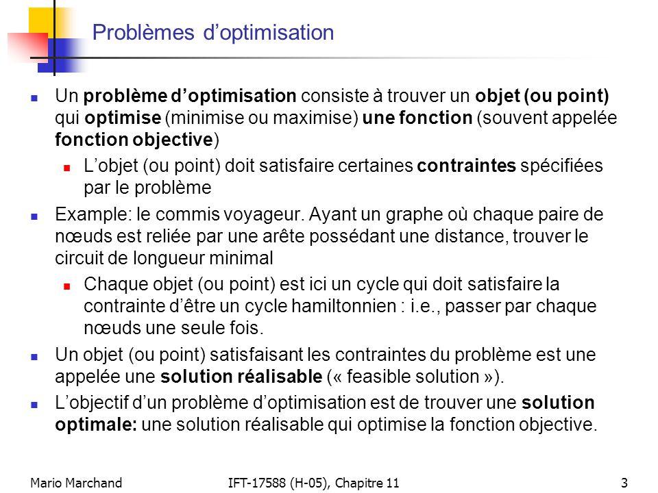 Mario MarchandIFT-17588 (H-05), Chapitre 113 Problèmes d'optimisation  Un problème d'optimisation consiste à trouver un objet (ou point) qui optimise