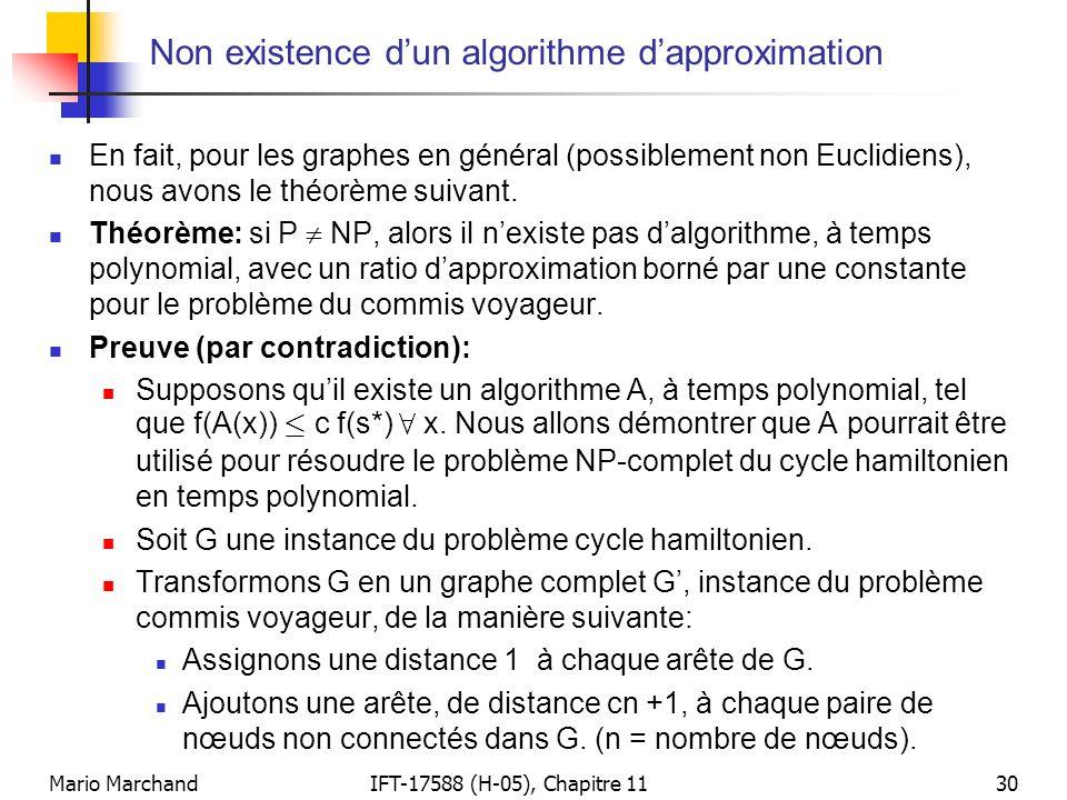 Mario MarchandIFT-17588 (H-05), Chapitre 1130 Non existence d'un algorithme d'approximation  En fait, pour les graphes en général (possiblement non E
