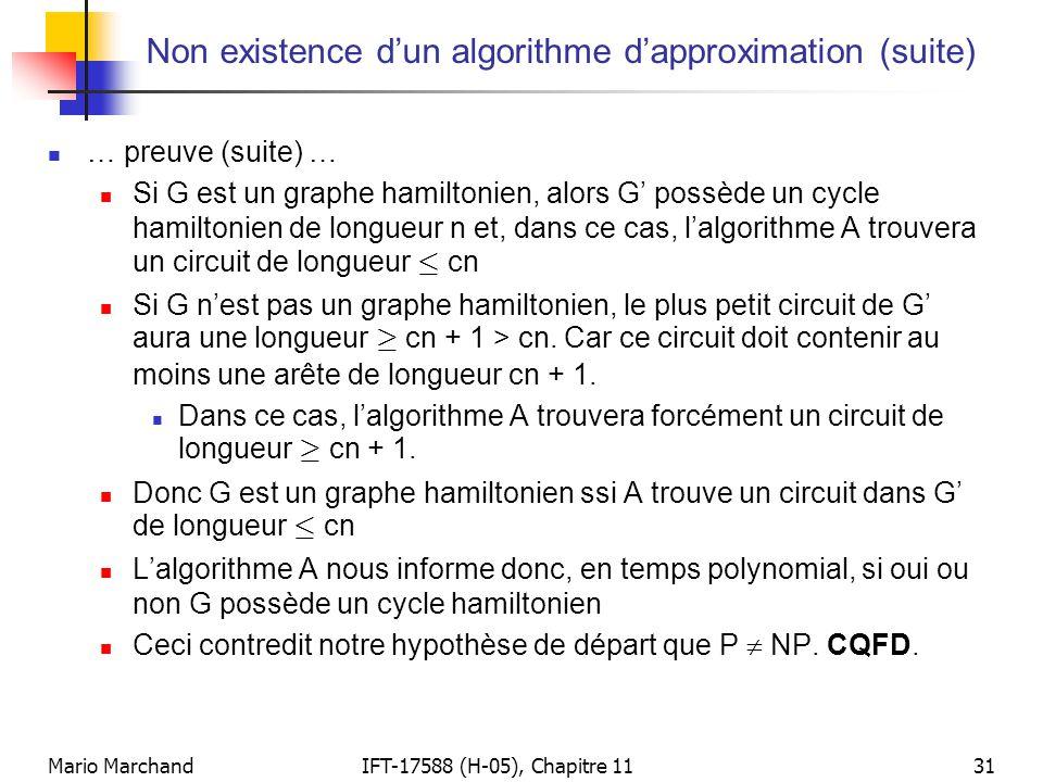 Mario MarchandIFT-17588 (H-05), Chapitre 1131 Non existence d'un algorithme d'approximation (suite)  … preuve (suite) …  Si G est un graphe hamilton