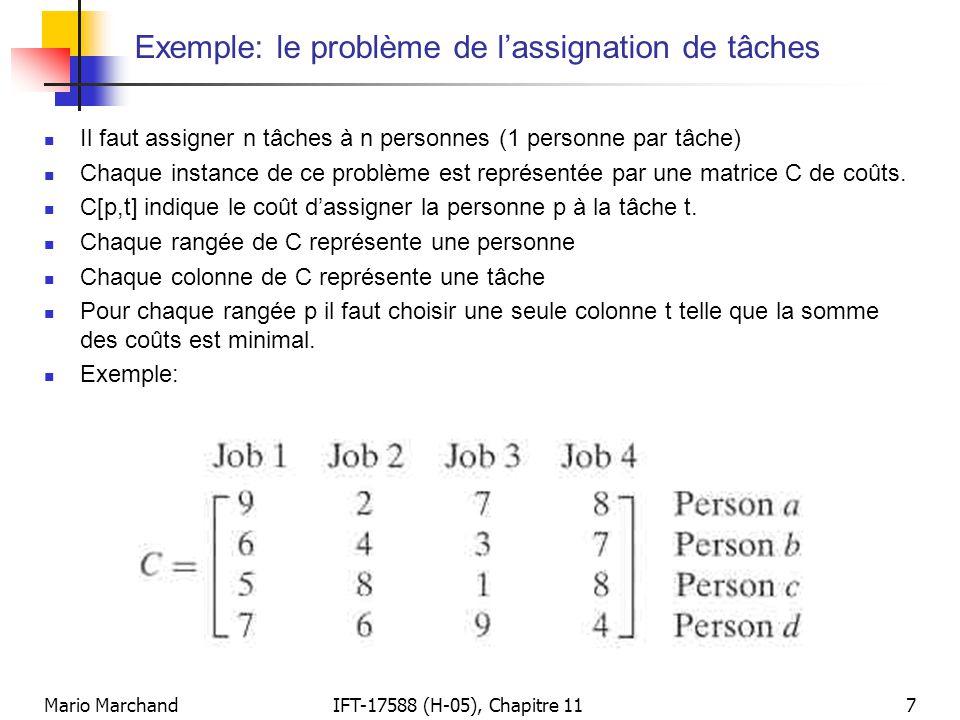 Mario MarchandIFT-17588 (H-05), Chapitre 117 Exemple: le problème de l'assignation de tâches  Il faut assigner n tâches à n personnes (1 personne par
