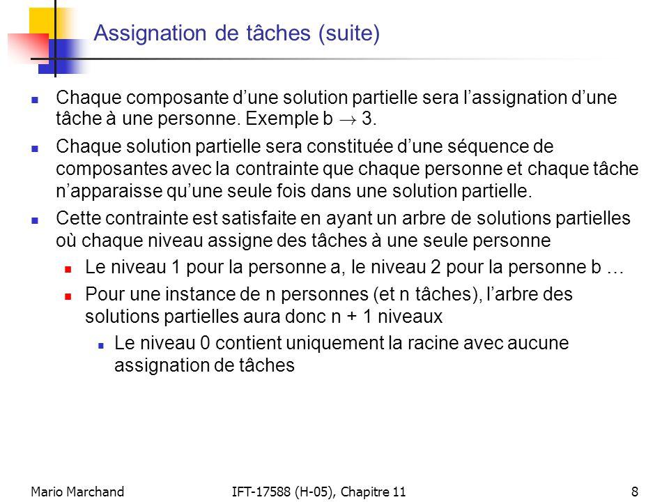 Mario MarchandIFT-17588 (H-05), Chapitre 118 Assignation de tâches (suite)  Chaque composante d'une solution partielle sera l'assignation d'une tâche