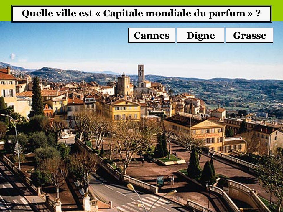 Quelle ville est « Capitale mondiale du parfum » ? CannesGrasseDigne