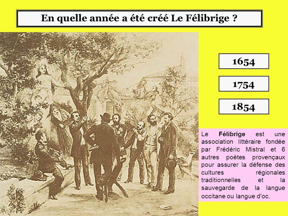 En quelle année a été créé Le Félibrige .