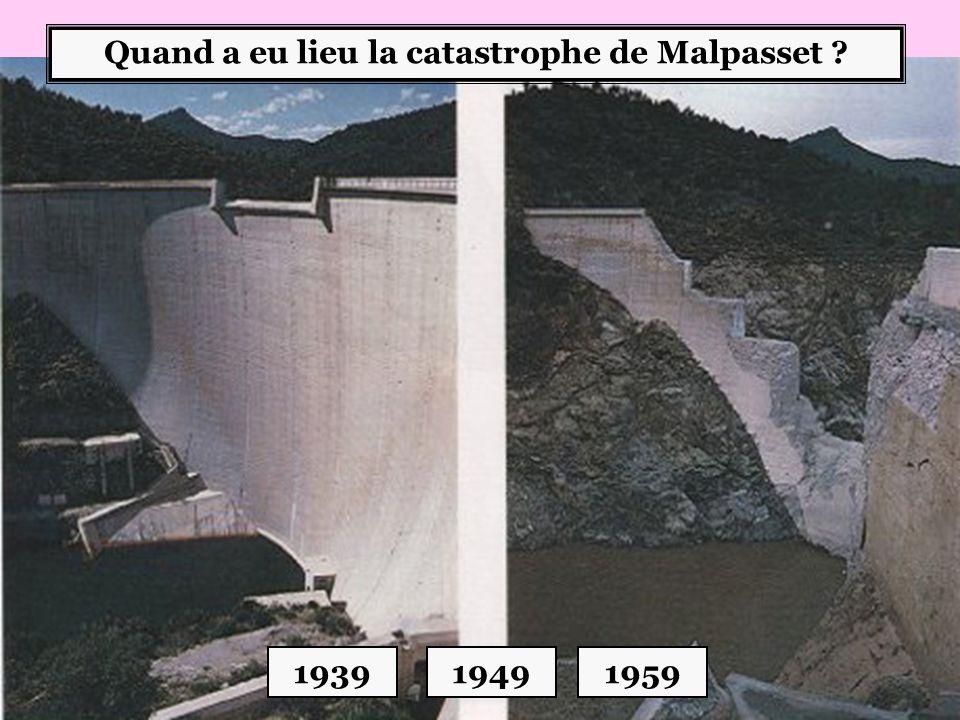 Quand a eu lieu la catastrophe de Malpasset ? 193919491959