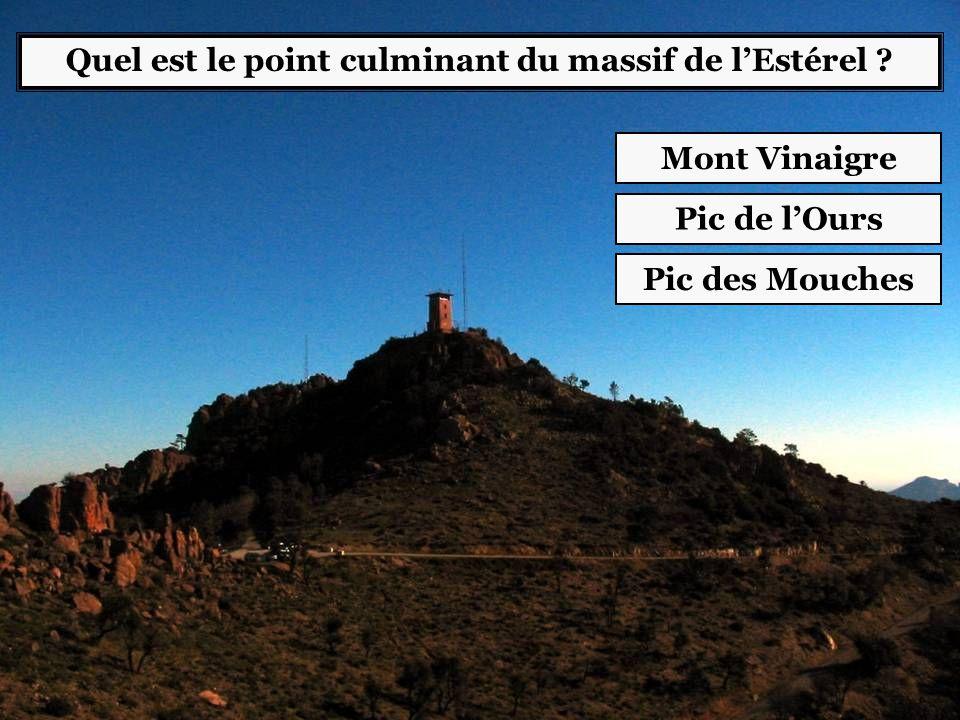 Quel est le point culminant du massif de l'Estérel ? Mont Vinaigre Pic de l'Ours Pic des Mouches