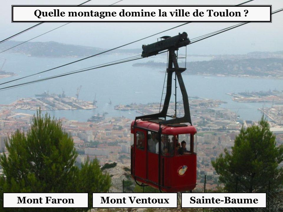 Quelle montagne domine la ville de Toulon ? Mont FaronSainte-BaumeMont Ventoux