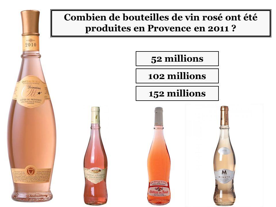 102 millions 152 millions Combien de bouteilles de vin rosé ont été produites en Provence en 2011 .