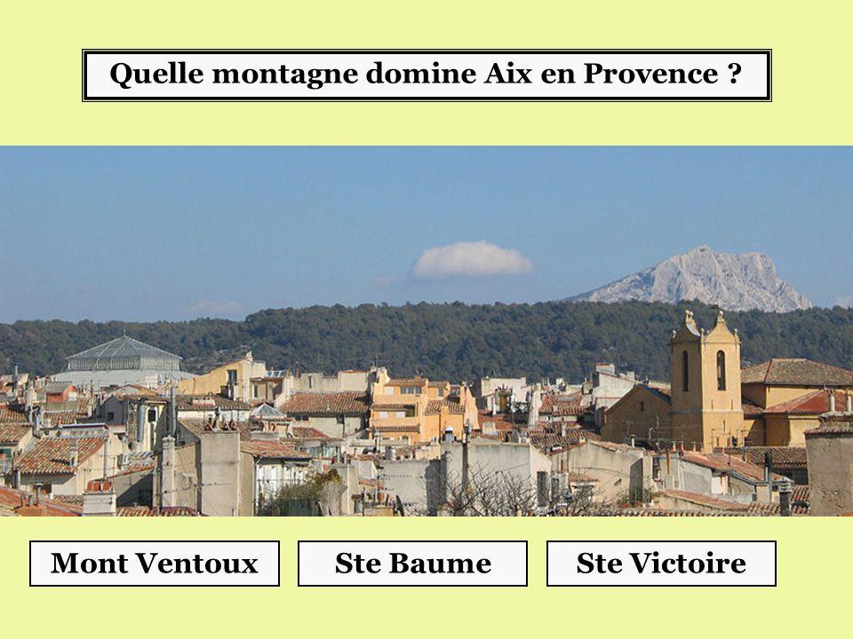 Quelle montagne domine Aix en Provence ? Ste VictoireSte BaumeMont Ventoux