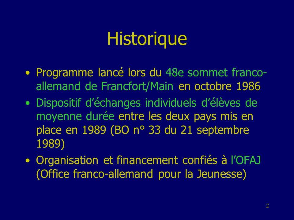 2 Historique •Programme lancé lors du 48e sommet franco- allemand de Francfort/Main en octobre 1986 •Dispositif d'échanges individuels d'élèves de moy