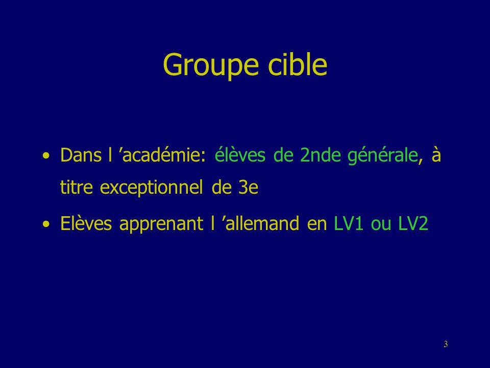 3 Groupe cible •Dans l 'académie: élèves de 2nde générale, à titre exceptionnel de 3e •Elèves apprenant l 'allemand en LV1 ou LV2