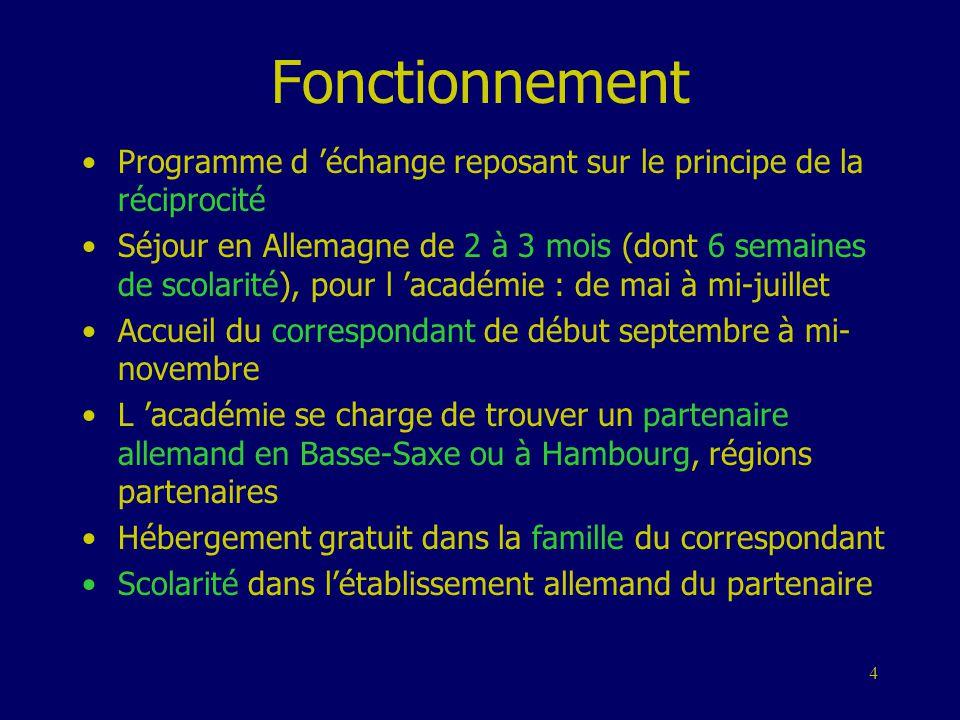 4 Fonctionnement •Programme d 'échange reposant sur le principe de la réciprocité •Séjour en Allemagne de 2 à 3 mois (dont 6 semaines de scolarité), p
