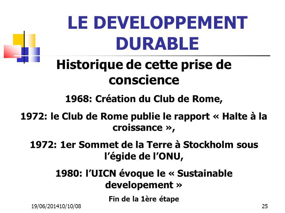 19/06/201410/10/08 25 LE DEVELOPPEMENT DURABLE Historique de cette prise de conscience 1968: Création du Club de Rome, 1972: le Club de Rome publie le