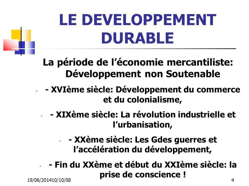 19/06/201410/10/08 4 LE DEVELOPPEMENT DURABLE La période de l'économie mercantiliste: Développement non Soutenable - - XVIème siècle: Développement du