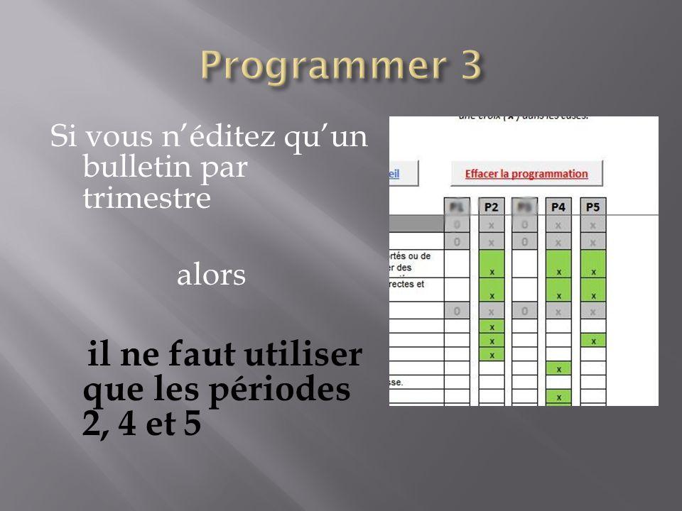 Si vous n'éditez qu'un bulletin par trimestre alors il ne faut utiliser que les périodes 2, 4 et 5