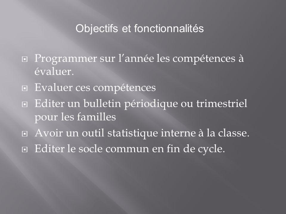  Programmer sur l'année les compétences à évaluer.