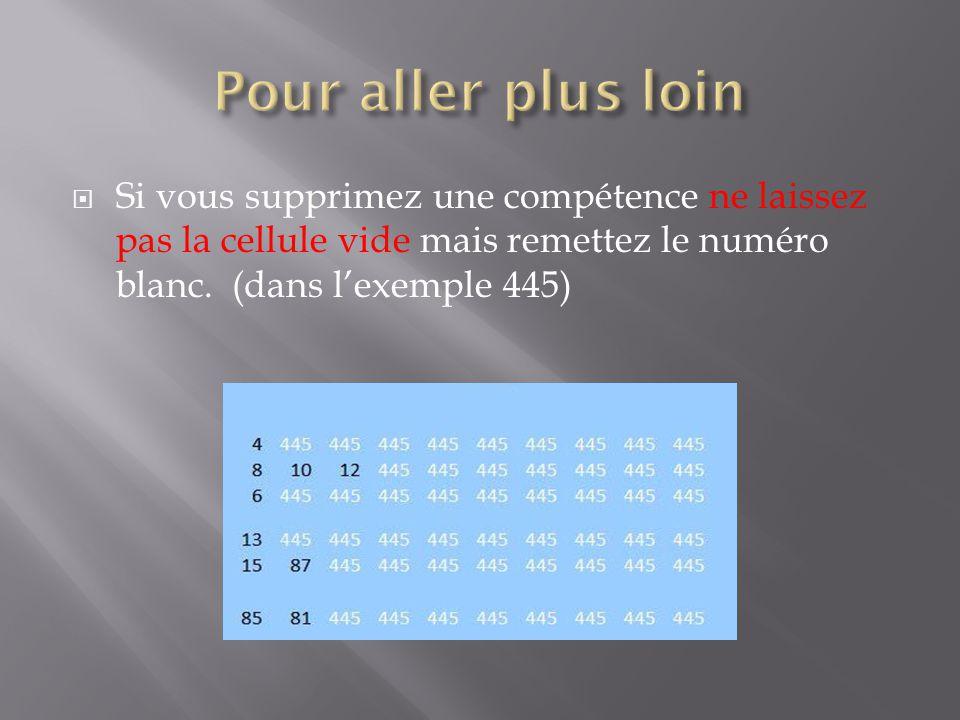  Si vous supprimez une compétence ne laissez pas la cellule vide mais remettez le numéro blanc.