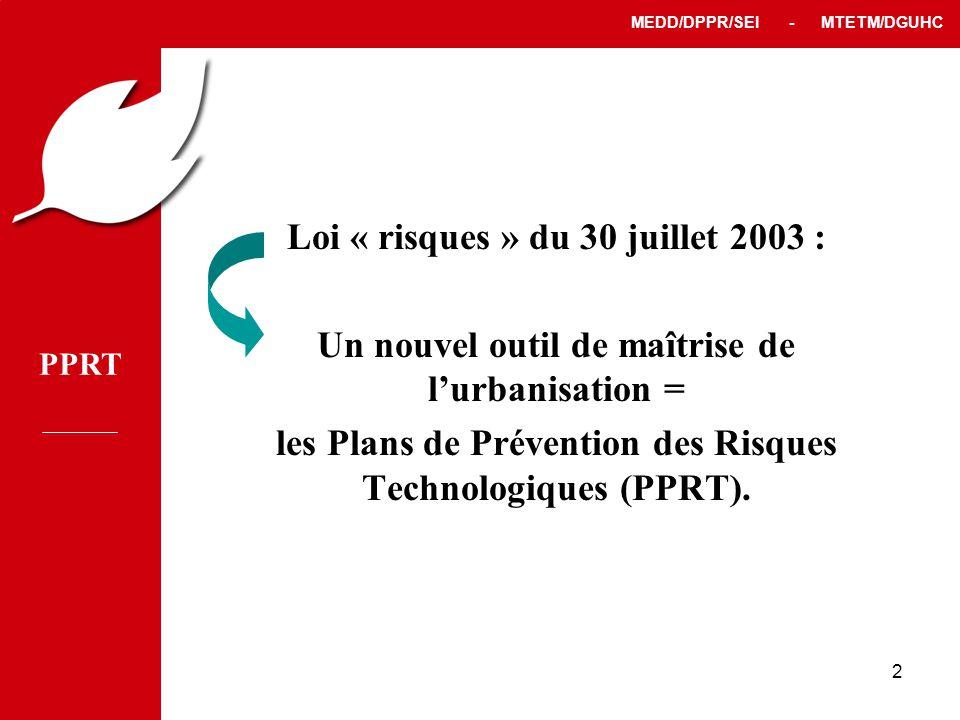 PPRT MEDD/DPPR/SEI - MTETM/DGUHC 2 Loi « risques » du 30 juillet 2003 : Un nouvel outil de maîtrise de l'urbanisation = les Plans de Prévention des Risques Technologiques (PPRT).