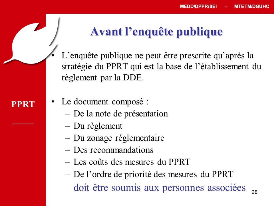 PPRT MEDD/DPPR/SEI - MTETM/DGUHC 28 Avant l'enquête publique •L'enquête publique ne peut être prescrite qu'après la stratégie du PPRT qui est la base de l'établissement du règlement par la DDE.