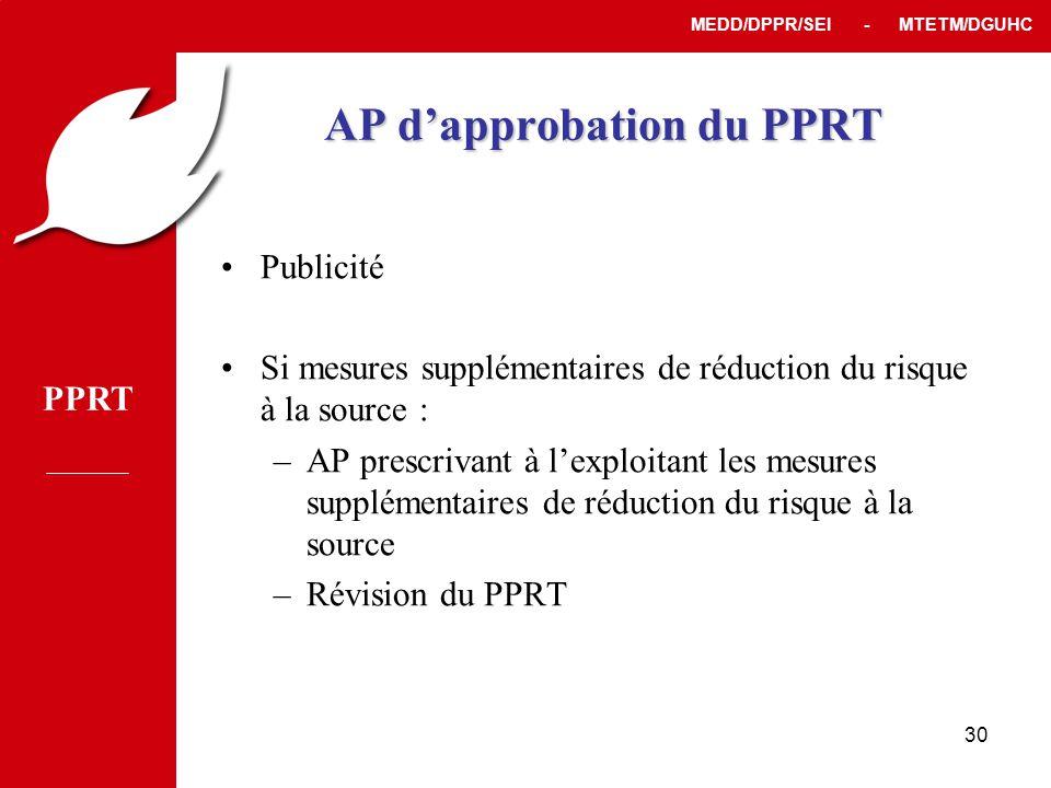 PPRT MEDD/DPPR/SEI - MTETM/DGUHC 30 AP d'approbation du PPRT •Publicité •Si mesures supplémentaires de réduction du risque à la source : –AP prescrivant à l'exploitant les mesures supplémentaires de réduction du risque à la source –Révision du PPRT