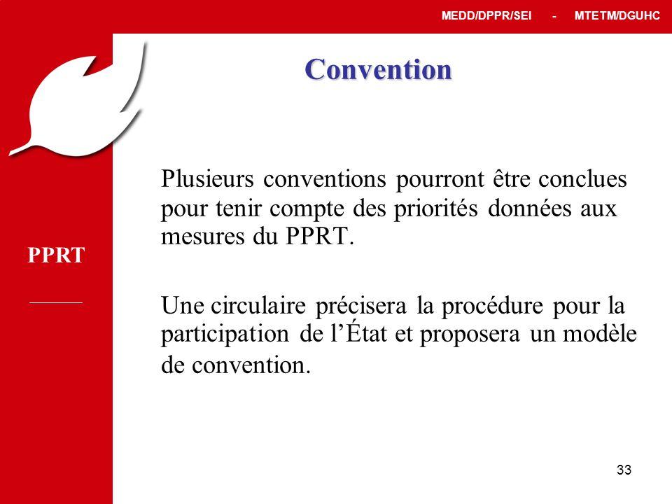 PPRT MEDD/DPPR/SEI - MTETM/DGUHC 33 Convention Plusieurs conventions pourront être conclues pour tenir compte des priorités données aux mesures du PPRT.