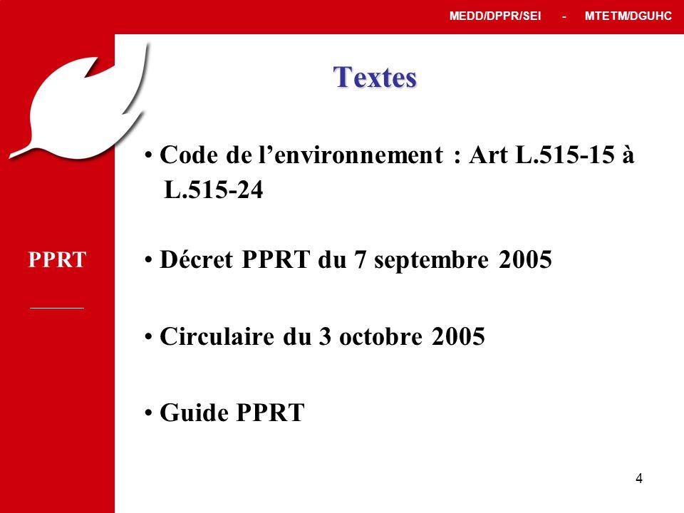 PPRT MEDD/DPPR/SEI - MTETM/DGUHC 4 Textes • Code de l'environnement : Art L.515-15 à L.515-24 • Décret PPRT du 7 septembre 2005 • Circulaire du 3 octobre 2005 • Guide PPRT