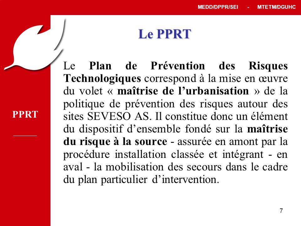 PPRT MEDD/DPPR/SEI - MTETM/DGUHC 7 Le Plan de Prévention des Risques Technologiques correspond à la mise en œuvre du volet « maîtrise de l'urbanisation » de la politique de prévention des risques autour des sites SEVESO AS.