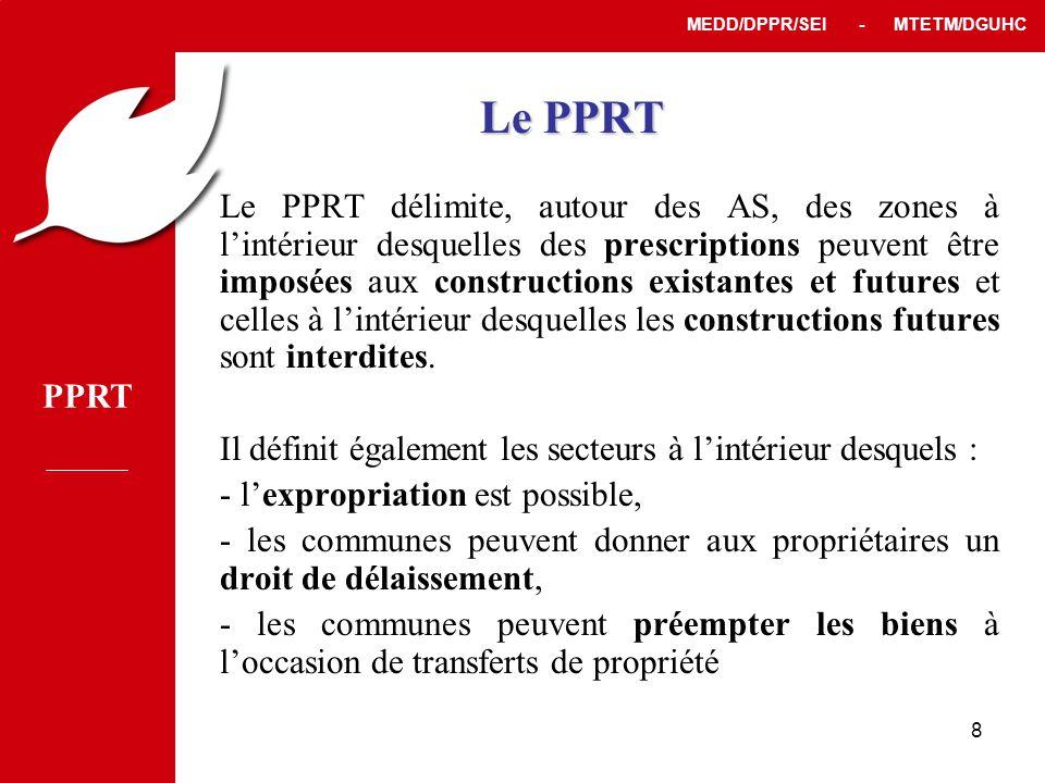 PPRT MEDD/DPPR/SEI - MTETM/DGUHC 8 Le PPRT Le PPRT délimite, autour des AS, des zones à l'intérieur desquelles des prescriptions peuvent être imposées aux constructions existantes et futures et celles à l'intérieur desquelles les constructions futures sont interdites.