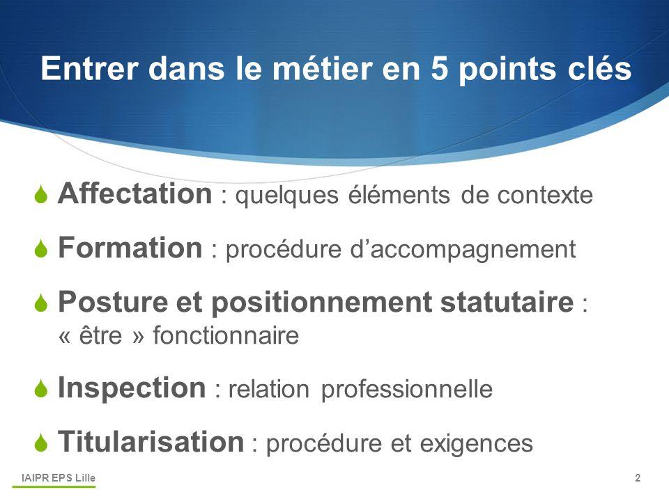 Entrer dans le métier en 5 points clés  Affectation : quelques éléments de contexte  Formation : procédure d'accompagnement  Posture et positionnem
