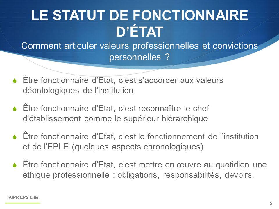 LE STATUT DE FONCTIONNAIRE D'ÉTAT Comment articuler valeurs professionnelles et convictions personnelles .