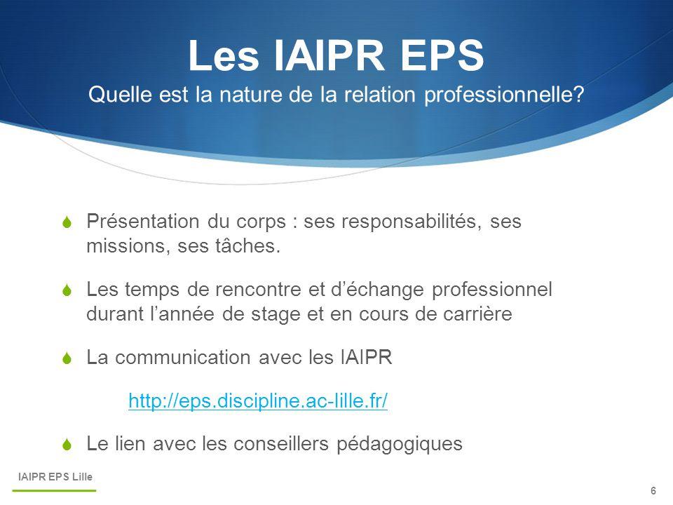 Les IAIPR EPS Quelle est la nature de la relation professionnelle?  Présentation du corps : ses responsabilités, ses missions, ses tâches.  Les temp