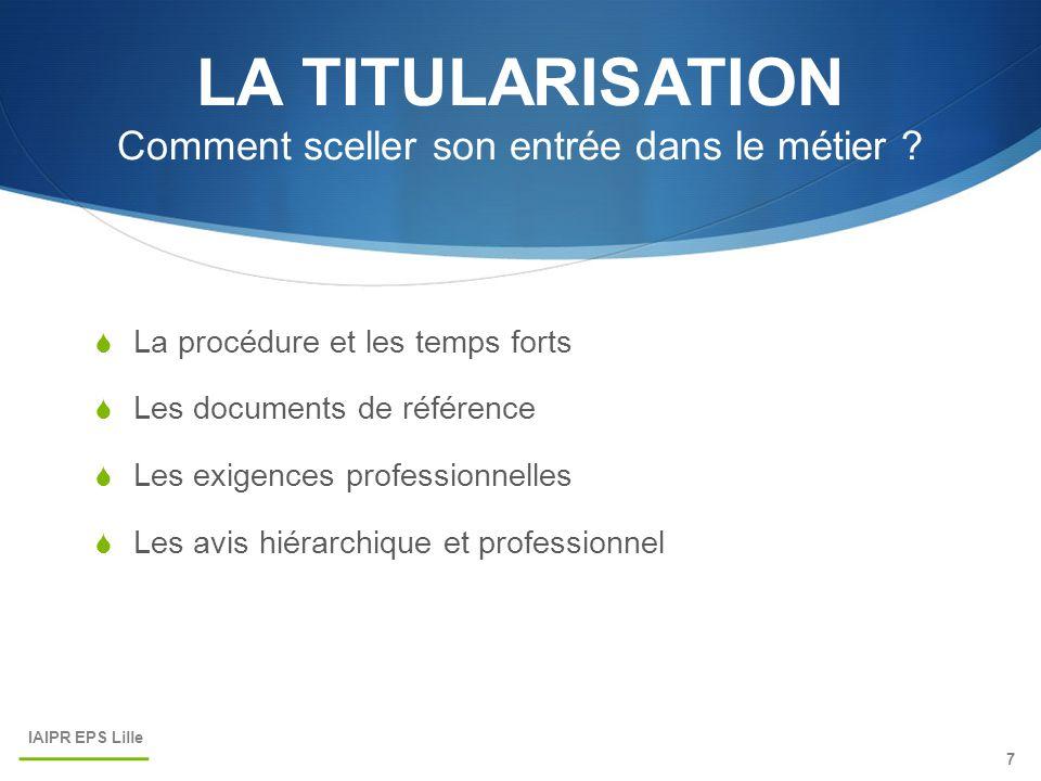 LA TITULARISATION Comment sceller son entrée dans le métier ?  La procédure et les temps forts  Les documents de référence  Les exigences professio
